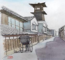 012_川越時の鐘(埼玉・川越市)-2010/水彩S2
