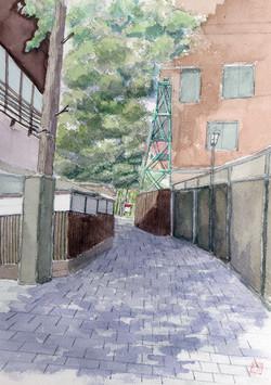 044_温泉櫓のある風景(神奈川・湯河原町)-2020/水彩F4