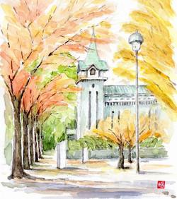 川合昭二-開港記念館前の紅葉s