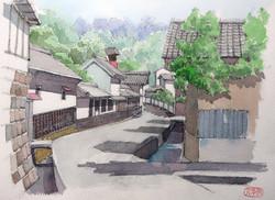 029_茂田井宿の家並み(長野・佐久市)-2014/水彩F3