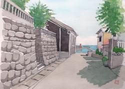036_福浦漁港への道(神奈川・湯河原町)-2016/水彩F3