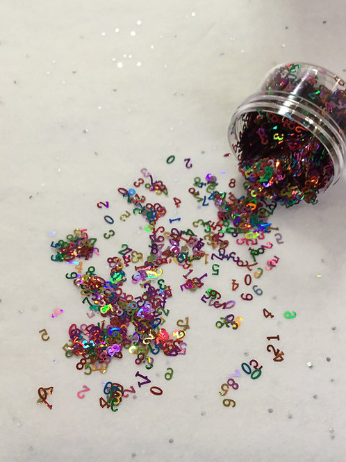 Holo Multi Color Numbers Confetti, 0.5 oz