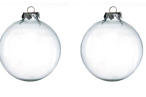 Clear Glass Globe Ornaments, 100mm, set of 2