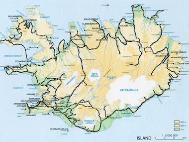 Orientační mapa mých cest po Islandu