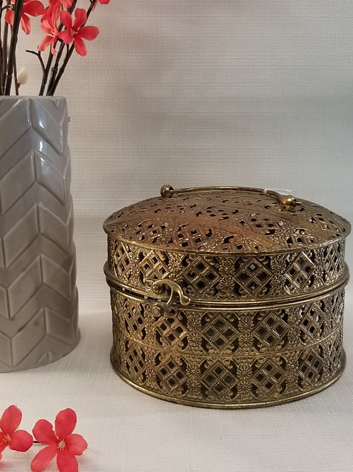 Gold Pierced Tin Box