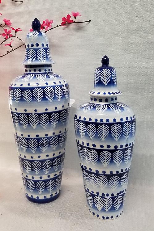 Ceramic Vase Navy and White with Lid  Medium