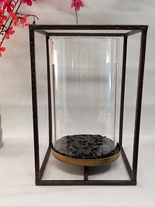 Metal Hurricane Candle Holder with Glass