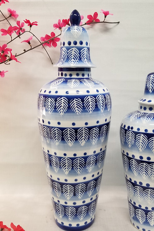 Ceramic Vase Navy and White with Lid  Large