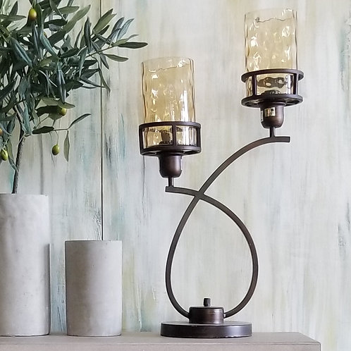 Fancy Twist Table Lamp - 2 Glass Lites