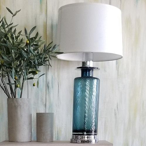 Tall Table Lamp -Swirl Blue Glass Base