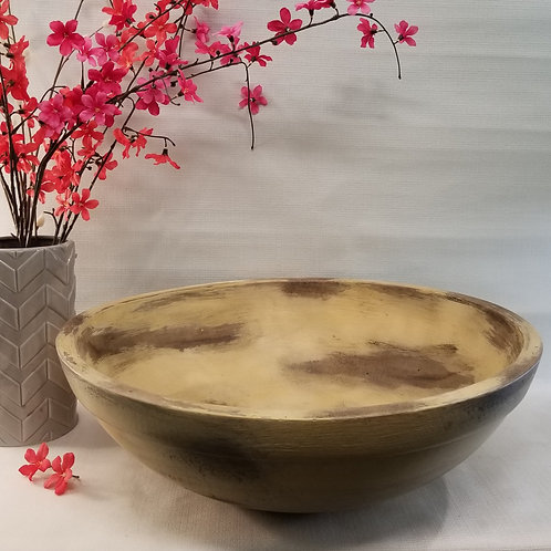 Large Wooden Bowl with Distressed Paint