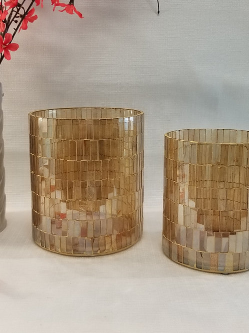 Medium Mosaic Gold Vase / Hurricane
