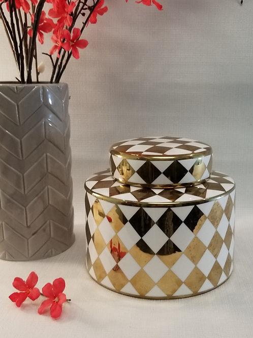 Harlequin Gold Ceramic Container
