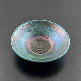Small Copper Green Raku Dish.heic