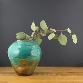 Raku Copper Vase with Gum Leaves.jpg