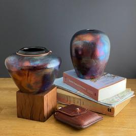 Two Cobalt Raku Glazed Vases.jpg