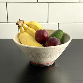 White Crackle Raku Bowl