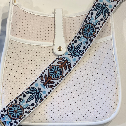 White Neoprene w/Snap Closure and Embroidered Strap Set