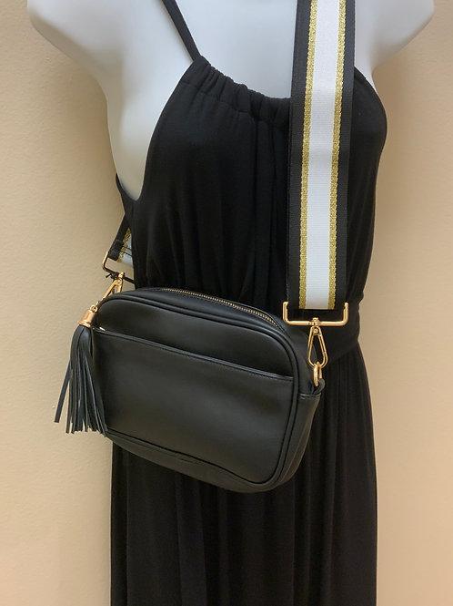 Tassel Accent Messenger Bag & Striped Strap Set