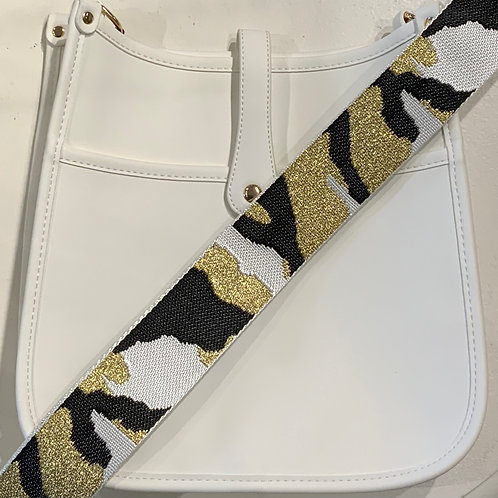 White Vegan Leather w/Snap Closure and Gold Camo Strap Set