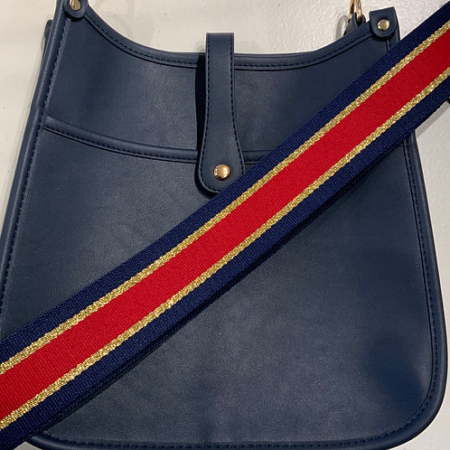 Navy Vegan Leather w/Snap Closure and Navy, Red, Gold Striped Strap Set