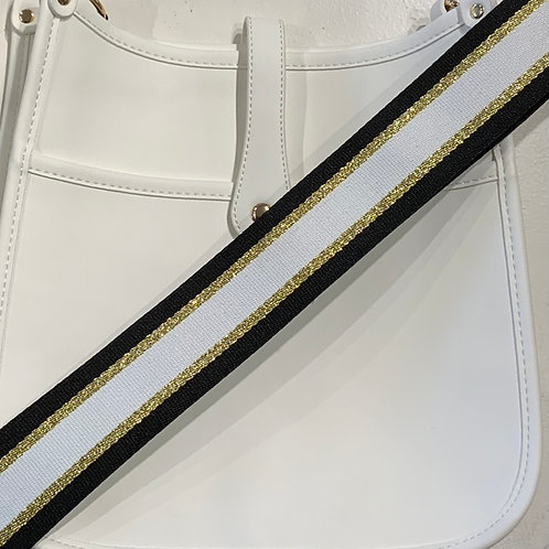 White Vegan Leather w/Snap Closure and Black, White, Gold Strap Set