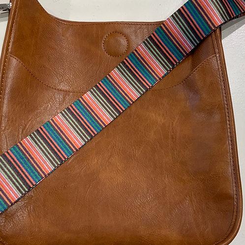 Reg. Size Camel Vegan Leather Messenger with Multicolor Stripe Strap
