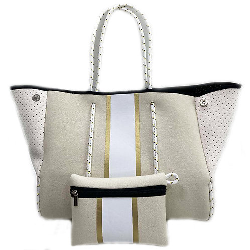 Ivory/White with Gold/White stripes Neoprene Tote