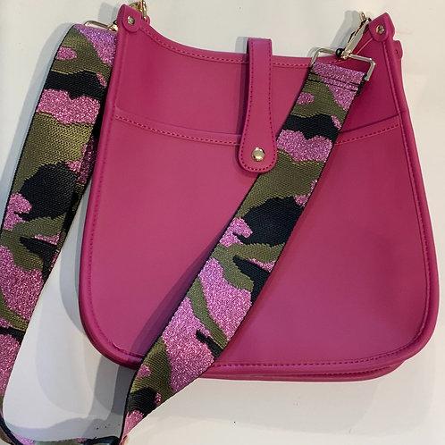 Fuchsia Vegan Leather w/Snap Closure & Camo Strap