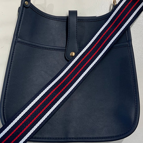 Navy Vegan Leather w/Snap Closure and Navy, White Red, Striped Strap Set