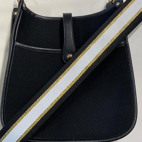 Black Neoprene  w/ Black Gold  White Stripe Strap Set