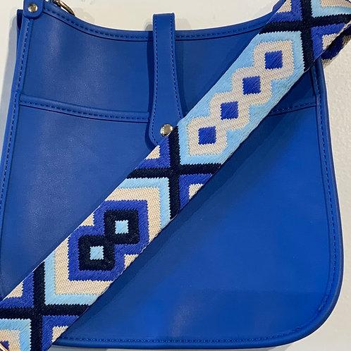 Royal Blue Vegan Leather w/Snap Closure  & Geometric Strap Set