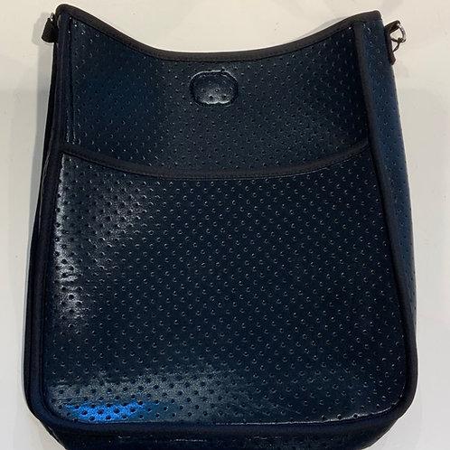 Glossy Black Neoprene Messenger - Bag Only