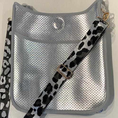 Silver Neoprene Leopard Strap Set