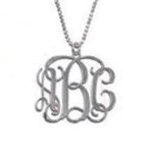 "1"" Monogram Pendant Necklace - Silver"