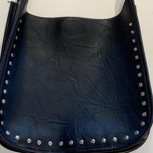 Black Studded Reg. Size Vegan Leather Messenger - Bag Only