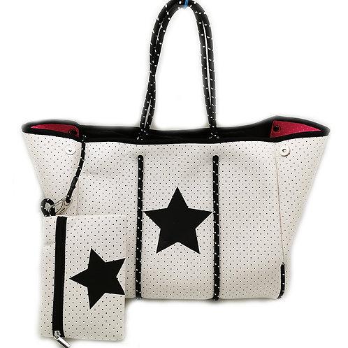 White Neoprene Bag with Black Star
