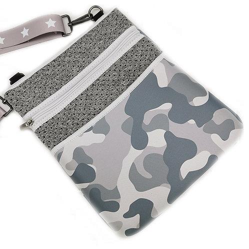 Grey Camo Neoprene Messenger Bag