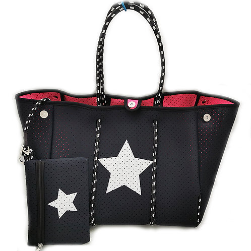 Black with White Star Neoprene Tote