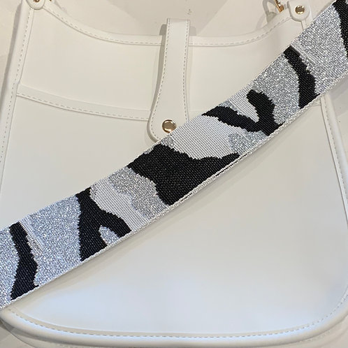 White Vegan Leather w/Snap Closure and Silver Camo Strap Set
