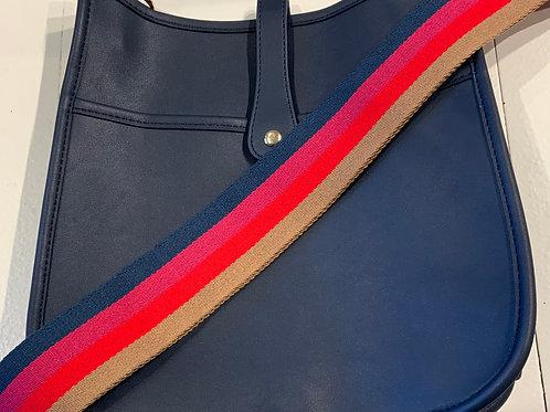 Navy Vegan Leather w/Snap Closure  & Striped Strap Set