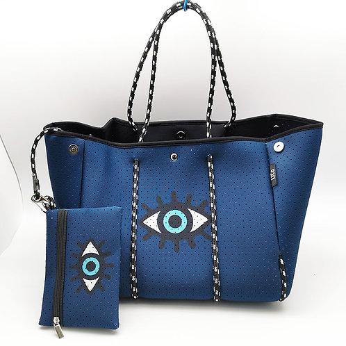 Blue Evil Eye Neoprene Tote