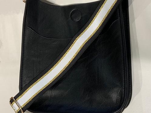 Black Vegan Leather Messenger w/ Gold Strap