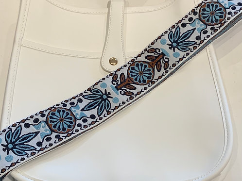 White Vegan Leather w/Snap Closure and Blue Brown Print Strap Set