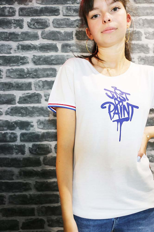 T-shirt Femme .Rainbow Blanc/Bleu royal