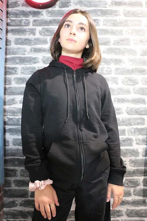 Sweat capuche zippé Noir/Blanc
