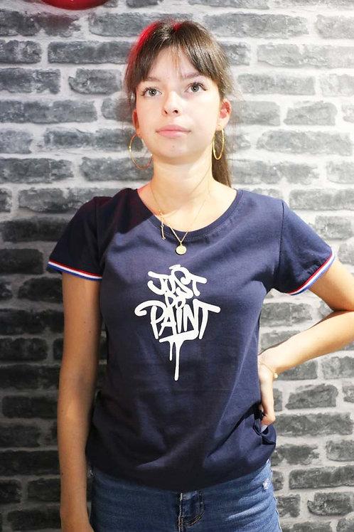 T-shirt Femme .Rainbow French marine royal/Blanc