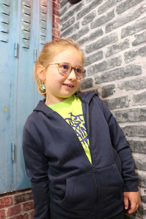 Veste zippé Enfant Bleu french marine/Rose