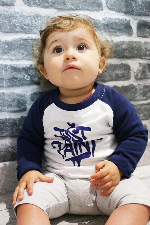 T-shirt manches longues Enfant Bleu navy/Blanc
