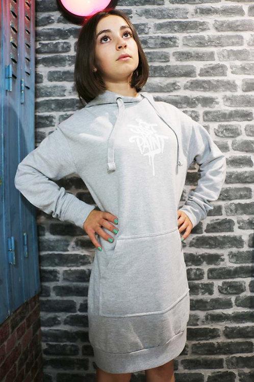 Sweat robe Gris clair/Blanc